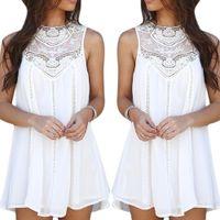 Wholesale Lace Top Chiffon Short Dress - Women's Girl's Casual Vintage A-Line Dress Short Skirt Tops Chiffon Lace Crochet Sleeveless Including Asia S-XXL Size ED233 Free Shipping