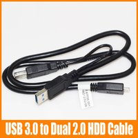 Wholesale 60CM Micro USB Male to Dual Micro USB HDD Cable Power Extension Y Cable For Hard Drive HDD PC Laptop in Cable