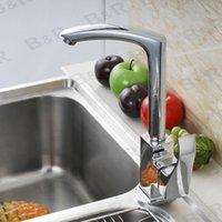 Wholesale Freeshipping B R Fashionable Tap Kitchen Chromed Mixer Single handle Single hole Surface Mounted Swivel Faucet YH