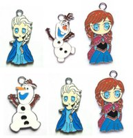 Wholesale Frozen Anna Elsa Olaf Jewelry Making Metal Figure Pendant Charm X
