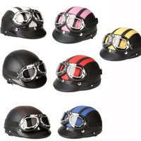 Wholesale Motorcycle Helmet Bike Bicycle Helmet Scooter Open Face Half Leather Helmet with Visor UV Goggles Retro Vintage Style cm