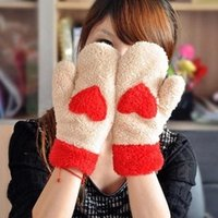 Wholesale 2015 Double thick warm winter cartoon cute plush love full finger gloves Women gloves