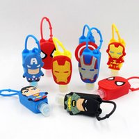 Wholesale Batman Captain America Spider Man Iron Man Superman The Avengers portable antibacterial gel silicone hand sanitizer holder