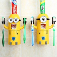 wall mounted holder - 2015 new Cute Minions Design Set Cartoon minecraft Toothbrush Holder Automatic Toothpaste Dispenser with Brush Cup