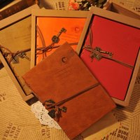 Wholesale Vintage Leather Notebook Diary Key Design Kraft Paper Diary In School Supplies