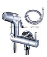 Wholesale Chrome Bidet spray gun Toilet flusher G1 quot Brass Faucet ABS Handle Strong pressure Sprayer Shower head cm Hose