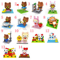 bearing blocks - 4pcs LOZ D U S BROWN BEAR puzzle toy building blocks small particles of diamond kitty The couple Mini scene Educational Toys
