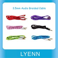 Wholesale 3 mm Colorful Audio line Stereo Braided Cable Extended Auxiliary Cable Cord for Phone for MP3 PC