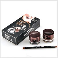 cream eye liner - 2pcs set MusicFlower MakeUp set Waterproof Eye Liner Eyeliner Cream Eyebrow Powder Colors set Cosmetic set with eyebrow pencil
