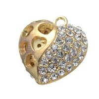 antique style diamond pendant - 50 diamond heart Charms pendant Antique Silver and gold color hollow out style heart charms
