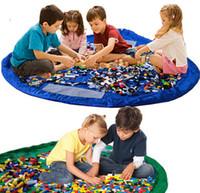 portable garage - Children Toddler Play Mat Toy Mats Portable collapsible Large Nylon Storage Bag Toys Organizer Dolls car Rug Box cm Blue Pink Green XL