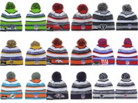 Wholesale New Football Beanies All Teams Pom Pom Beanies Team Hat Winter Caps Popular Beanie Caps Skull Caps Best Quality Sports Caps Allow Mix Order