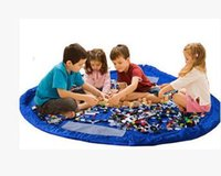 Wholesale GROUPON Portable Kids Children Infant Baby Play Mat Large Easy Storage Bags Toys Organizer Blanket Rug Boxes For Lego Toys Room