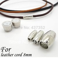 Cheap Free ship 100piece Lot Rhodium Plated End Caps Clasps For Leather Cord 8mm Leather Jewelry Magnetic Clasps
