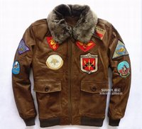 Wholesale Fall New Avirex Top Gun Jacket Leather Men USAF Badge Militare Plus XXXXL Genuine Cowskin Men Coat Factory Direct