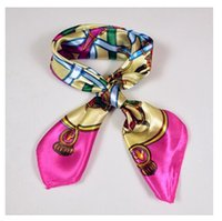 Wholesale colorful Satin Small Square Silk Scarf Printed For Women Ladies Cheap Polyester Scarf Plaid Pattern Kerchief