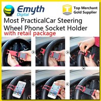 Wholesale The most practical Car Steering Wheel Phone Socket Holder SMART Clip Car Bike Mount for iphone plus s5 easy use GPS with retail package