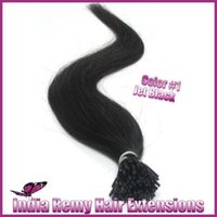 Wholesale 18 quot quot In Stock I tip Pre bonded Brazilian Hair Extensions g strand Straight jet black Color Human Hair Extension