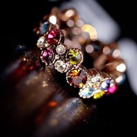 Wholesale 1 Piece Flower Pattern Love Women Lady Cute Round Multicolor Ring Love Elegant Fashion