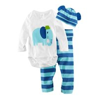 baby crawl age - New Two Pieces With Cap Baby Stripes Suits Fashion Triangle Crawling Clothes For Ages Baby Cartoon Long sleeved Outfits