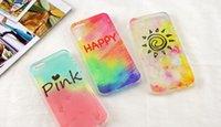 al por mayor fundir los casos de helado-La nueva caja suave del teléfono de la cáscara de la contraportada del teléfono móvil del silicón del arco iris del helado encantador para Iphone 6