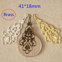 art deco chandelier earrings - 40 Brass Art Deco Filigree Chandelier Earring Dangles Connectors Stampings Drop mm Jewelry Findings Good Quality