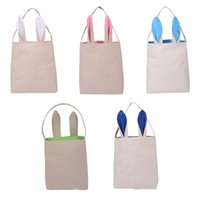 Wholesale Newest Fashion Cute Cotton And Linen Easter Bunny Ears Basket Bag For Easter Gift Packing Easter Handbag For Child Fine Festival Gift