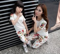 floral print pants - Girls and Mother Family Set Cute Floral Print T Shirt Floral Shorts Pants Set Mom and Daughter Summer Clothing Sets