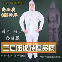 Wholesale Disposable Lab Coat Thick non woven disposable protective clothing piece hooded wool overalls breathable dust prevention painting