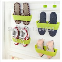 Wholesale Candy Color PC High Quality Sticky Shoe Rack Simple Wall Back Door Hanging Storage Shoe Shelf