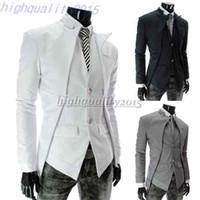 asymmetrical men - New Brand fashion blazer men Black White Gray slim casual Asymmetrical men Suit coat Drop shipping