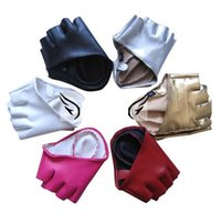 fashion fingerless leather gloves - Fashion PU Half Finger Lady Leather Lady s Fingerless Driving Show Jazz Gloves for Women Men