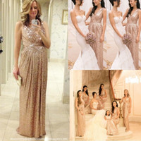 Real Photos rose water - 2015 Rose Gold Sequins Bridesmaid Dresses V Neck A Line Floor Length Maid Of Honor Bling Long Plus Size Pregnant Maternity Prom Gowns