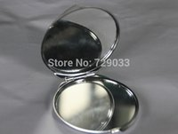 Wholesale 100pcs Silver Blank Compact Mirror Round Metal Makeup Mirror Promotional Gift for XMAS