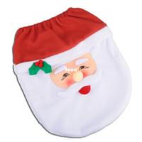 Wholesale Fashion Hot Happy Santa Toilet Seat Cover Rug Bathroom Set Christmas Decorations