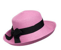 Wholesale 2016 New Sun Hat Women Ladies Brim Hat Floppy Summer UV Protection Beach Hat Straw Hat Dome Cap Outdoor Travel Casual Foldable Headwear