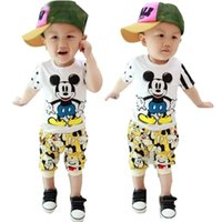 Boy Summer Short 2015 summer Mickey Short Sleeve T Shirt Boys Casual Trousers Children Clothes Kids Clothing Baby Children Set Kids Suit Outfits