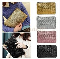 Wholesale 100pcs LJJC2768 OCEA Fashion Women Clutch Dazzling Sequins Glitter Sparkling Handbag Evening Bag Black Bling Sequins Clutch Dazzling Handbag
