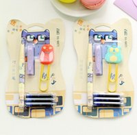 Wholesale New Creative Owl series fountain pen set Paper clip Ink sac Fashion Style gift pen Promotion dandys