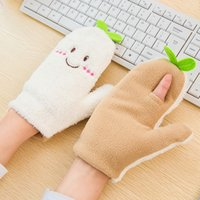 Wholesale pairs Korean Cute Cartoon Full Finger Gloves Girl Women Figure Together Glove With Kawaii Leaf Model Deraction Mix