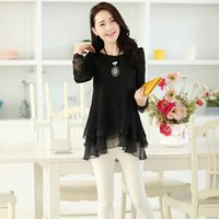 lady lace blouse - Women Fashion Lace Blouses Lady Sexy Long Sleeve Blouses Casual Style Elegant Pure Color Different Size