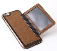 apple credit check - luxury PU leather mobile phone credit case card check photo stand Phone Case for iPhone4 and by DHL