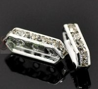 Wholesale Silver Plated Clear Rhinestone Holes Spacer Bars x6mm