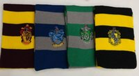 Wholesale Harry Potter Series Harry Potter Scarf Stripe Scarves Gryffindor Hufflepuff Slytherin Knit Scarves Wraps Striped With Badge