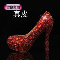 Cheap Bridal Shoes Red Luxury Elegant Diamond Wedding Shoes Beautiful Crystal High Heels Glittering Platform Woman Pumps Banquet Prom Shoe