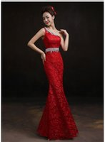 Wholesale Hot Sale Cheap Womens Fashion Fall Winter Elegant One Shoulder Red Lace Evening Gown Formal Dress