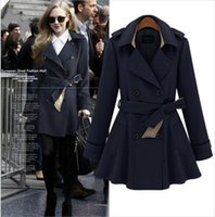 Cheap Autumn 2014 Trench Coat for Women Europe and America Trench Slim Desigual Coat Double-Breasted Trench Coat Belt Manteau Femme