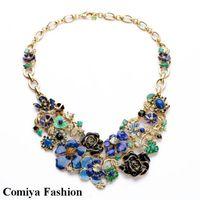 big neckless - Summer Accessories brand vintage colorful enamel flower bib chunky big necklaces pendants New bijouterie bijoux neckless