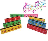 Wholesale 1Pcs Wooden Painted Harmonica Children Kids Musical Instrument Educational Music Toy Send By Random