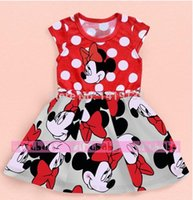 Cheap Hot!5pcs lot,Free Shipping 2015 Child Clothing Baby Girls Dress Lovely Dot Minnie Mouse Dress for Summer baby wear